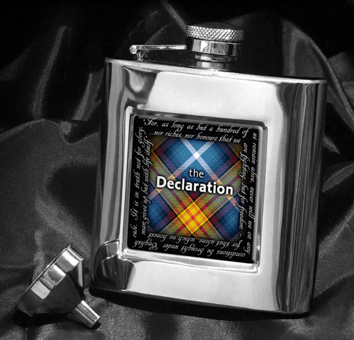 Declaration Tartan Square Hip Flask ...with the famous Declaration Quote!