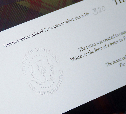 Prints are authenticated with an embossed seal